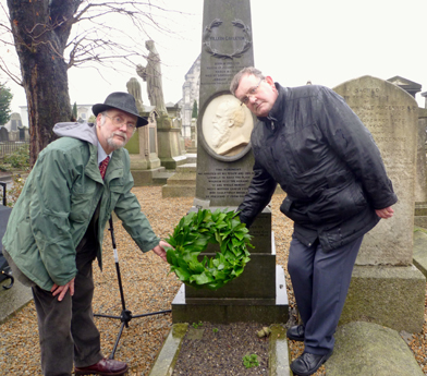 William Carleton Society President Jack Johnston and Chair Michael Fisher lay a wreath at Carleton's grave in Mount Jerome Cemetery, Dublin, January 2012 Photo: © Evelyn Fisher